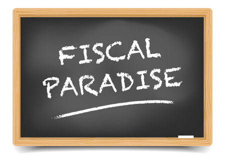 avoidance: detailed illustration of a blackboard with Fiscal Paradise text, gradient mesh included