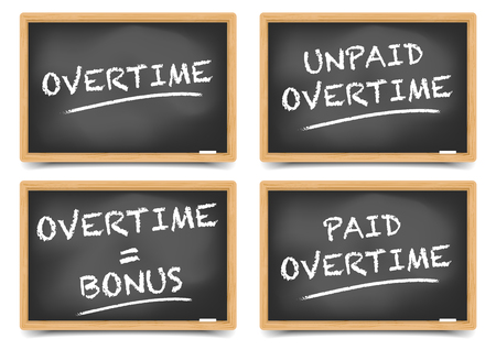 overtime: detailed illustration of Blackboards with Overtime concepts, gradient mesh included