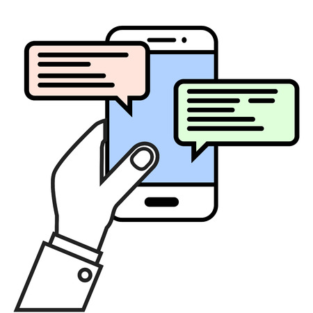 text messaging: minimalistic illustration of a hand holding a cell phone with text bubbles, mobile messaging concept Illustration