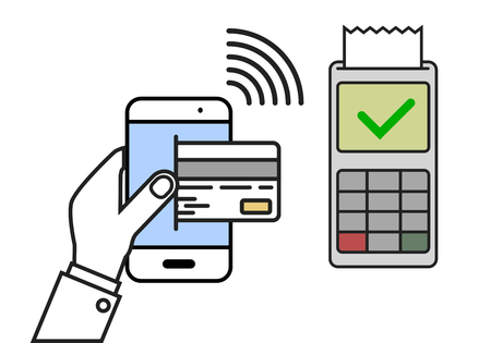 accepted: minimalistic illustration of a cellphone next to a pos terminal with accepted payment, mobile payment concept Illustration