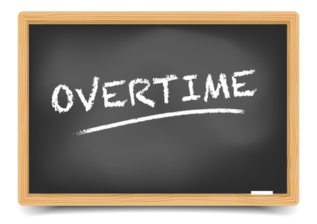overtime: detailed illustration of a blackboard with Overtime text,gradient mesh included Illustration