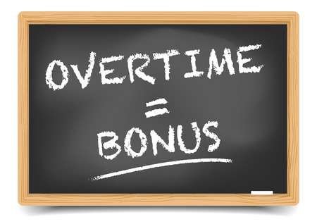 overtime: detailed illustration of a blackboard with Overtime Bonus sketch, eps10 vector, gradient mesh included Illustration