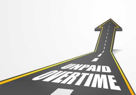 detailed illustration of a highway road going up as an arrow with Unpaid Overtime text, eps10 vector Illustration