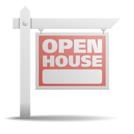 gedetailleerde illustratie van een Open House onroerend goed teken