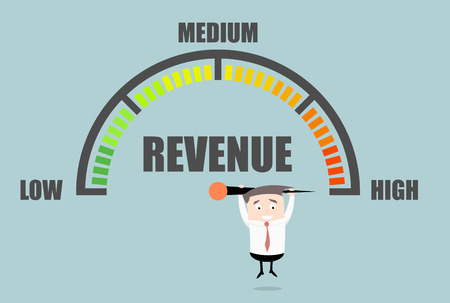 revenue: detailed illustration of a person hanging on a Revenue meter