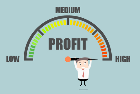 detailed illustration of a person hanging on a profit meter