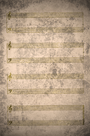 antiqued: vintage empty music sheet with stains, scratches and wrinkles Stock Photo