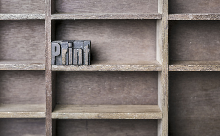 letterpress blocks: old wooden printers type forming the word Print