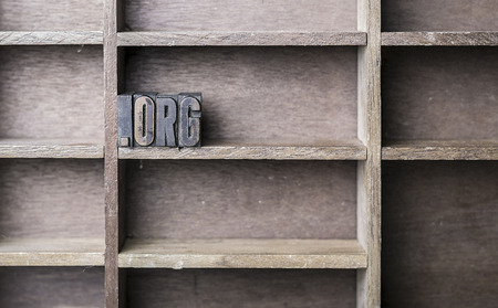 letterpress blocks: old wooden printers type forming the word .org Stock Photo