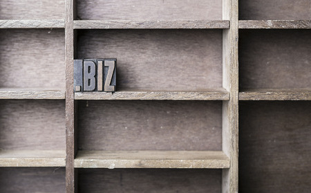 biz: old wooden printers type forming the word .biz Stock Photo