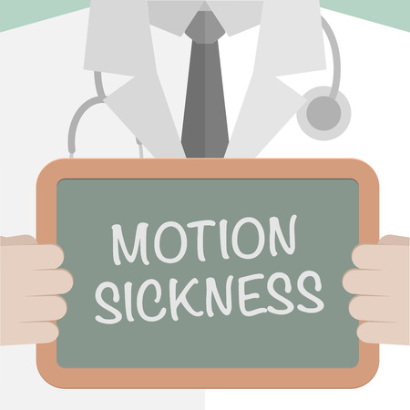sickness: minimalistic illustration of a doctor holding a blackboard with Motion Sickness text