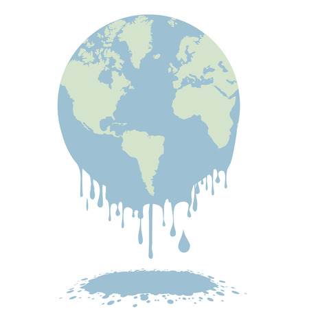 minimalistic illustration of a melting earth, global warming concept