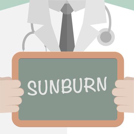 sunburn: minimalistic illustration of a doctor holding a blackboard with Sunburn text