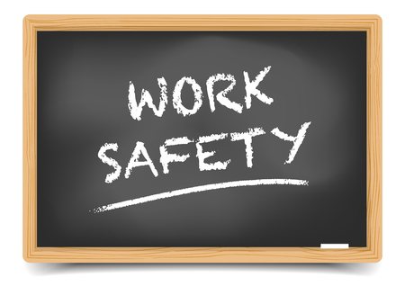 dangerous work: detailed illustration of a blackboard with Work Safety text,  gradient mesh included