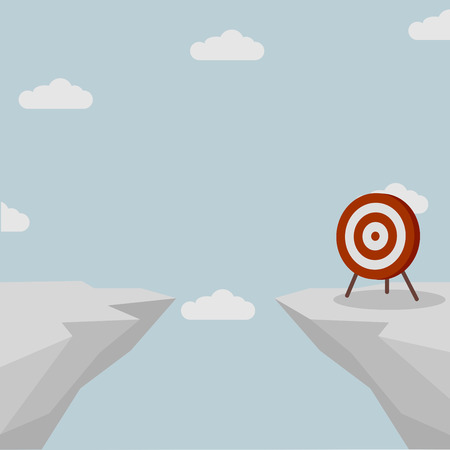 aspirational: illustration of a target standing on the other side of a cliff Illustration