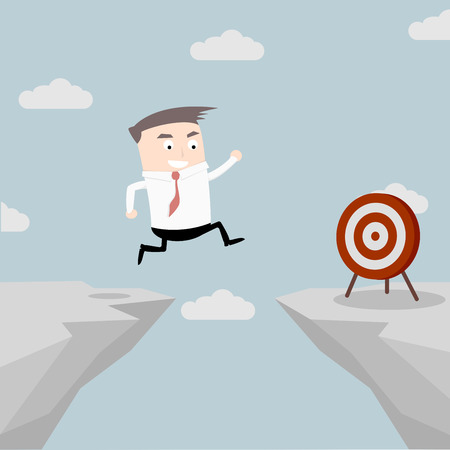 illustration of a businessman jumping over a cliff to reach the target