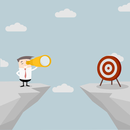 illustration of a businessman standing on a cliff with a spyglass in his hand watching the target on the other side