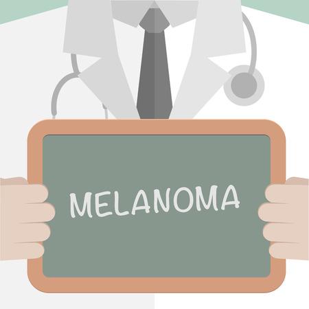 melanoma: minimalistic illustration of a doctor holding a blackboard with Melanoma text