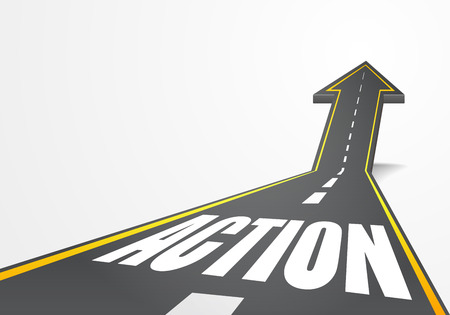 detailed illustration of a highway road going up as an arrow with Action text Vettoriali