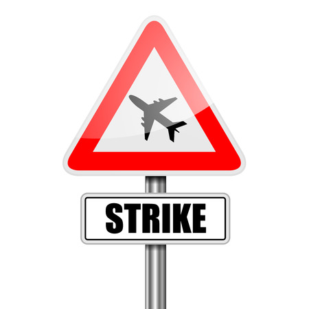 rebellion: detailed illustration of a red attention Airplane Strike sign Illustration