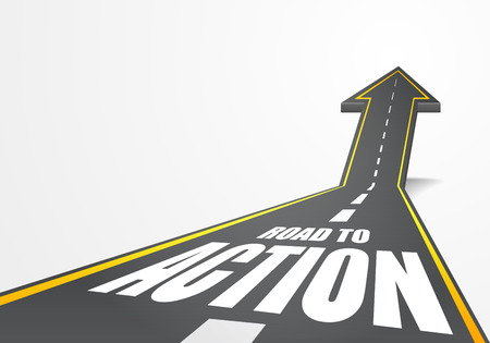 detailed illustration of a highway road going up as an arrow with Road to Action text Illustration