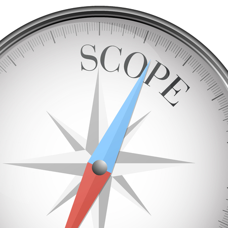 detailed illustration of a compass with scope text