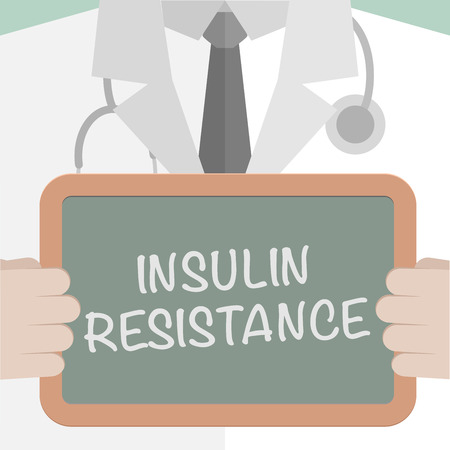diabetes mellitus: minimalistic illustration of a doctor holding a blackboard with Insulin Resistance text