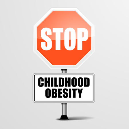 childhood obesity: detailed illustration of a red stop Childhood Obesity sign