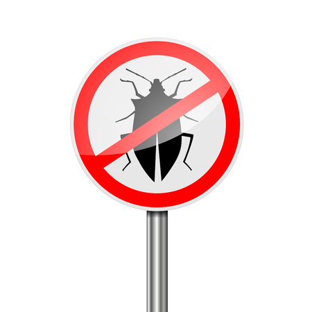 detailed illustration of a red attention Pest Control sign