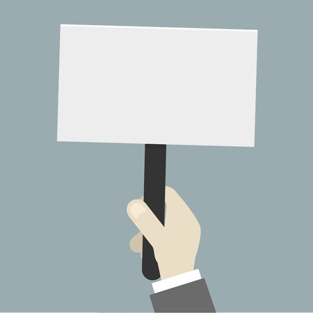 activist: minimalistic illustration of a handholding an empty protest sign Illustration