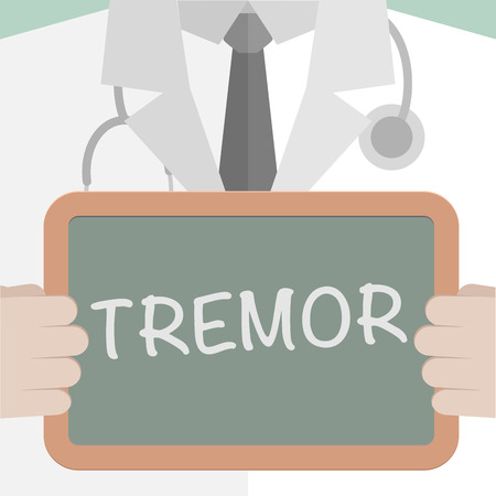shudder: minimalistic illustration of a doctor holding a blackboard with Tremor text