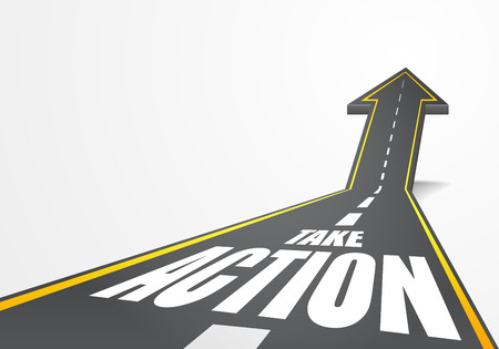 detailed illustration of a highway road going up as an arrow with Take Action text Illustration