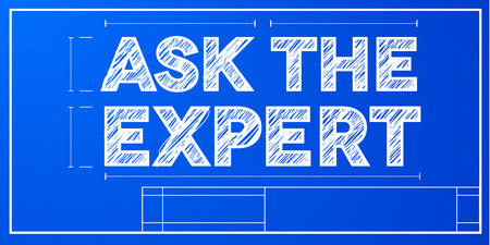 expertise: detailed illustration of a ask the expert text on a blueprint background
