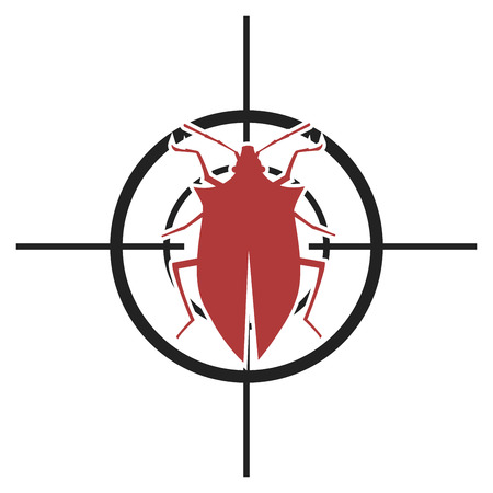 caution chemistry: illustration of a scope with a bug, symbol for pest control