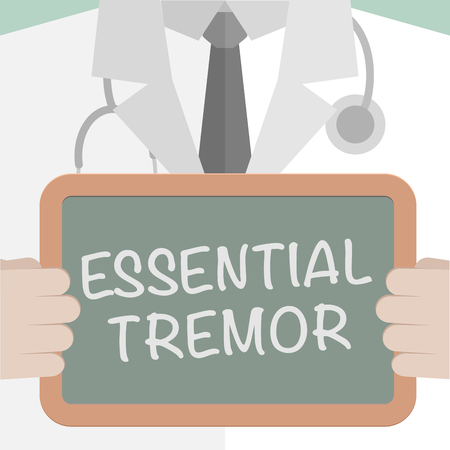 shudder: minimalistic illustration of a doctor holding a blackboard with Essential Tremor text
