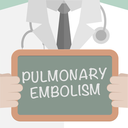 embolism: minimalistic illustration of a doctor holding a blackboard with Pulmonary Embolism text