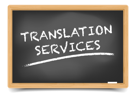 detailed illustration of a blackboard with Translation Service text, eps10 vector, gradient mesh included