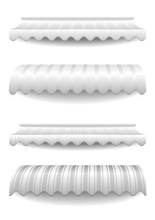 awnings: detailed illustration of set of white striped awnings, eps10 vector