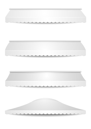 awnings: detailed illustration of set of white awnings, eps10 vector