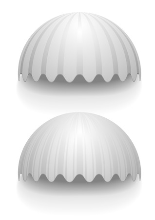 awnings: detailed illustration of white round striped awnings, eps10 vector Illustration