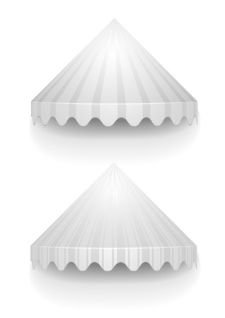 awnings: detailed illustration of white conical awnings, eps10 vector