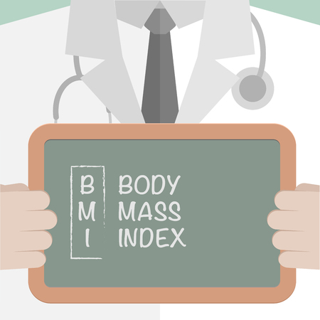 minimalistic illustration of a doctor holding a blackboard with BMI Term, eps10 vector