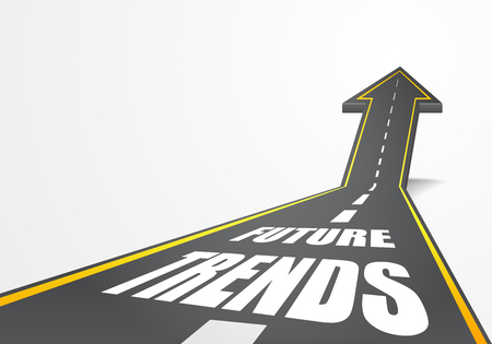 detailed illustration of a highway road going up as an arrow with Future Trends text, eps10 vector Illustration