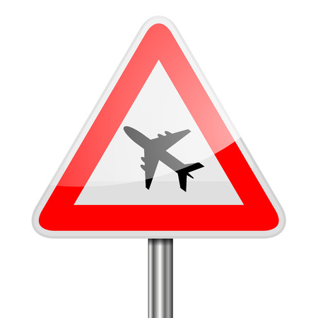 red sign: detailed illustration of a red attention Airplane sign, eps10 vector Illustration