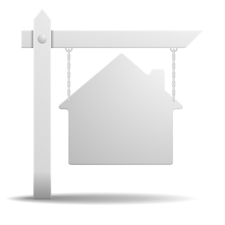 real estate sign: detailed illustration of a blank white real estate sign in shape of a house, eps10 vector
