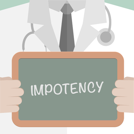 impotent: minimalistic illustration of a doctor holding a blackboard with Impotency text, eps10 vector