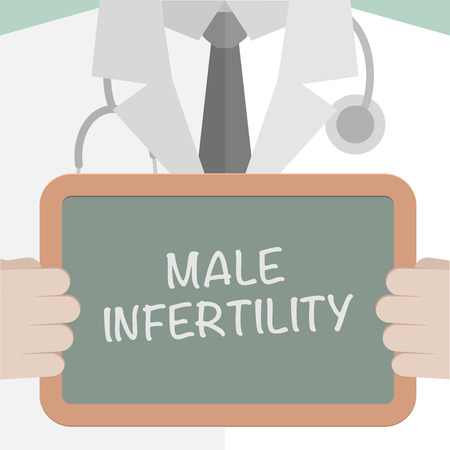 potency: minimalistic illustration of a doctor holding a blackboard with Male Infertility text, eps10 vector