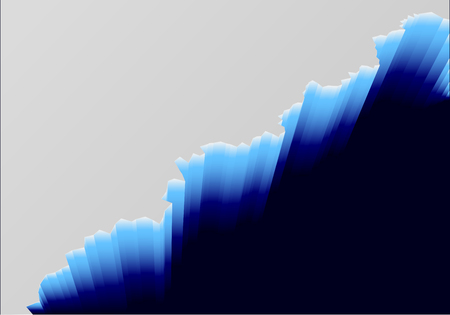 crevice: detailed illustration of an icy colored cliff edge with dark abyss, eps10 vector
