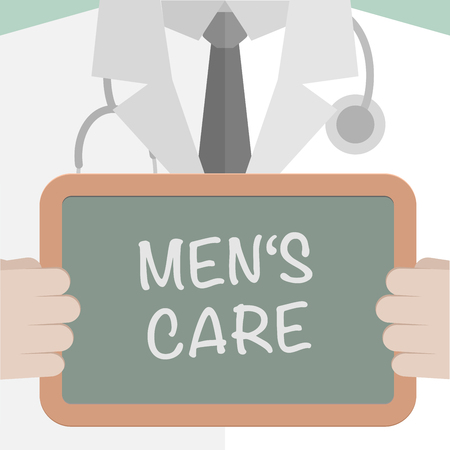 white work: minimalistic illustration of a doctor holding a blackboard with Men�s Care text, eps10 vector