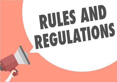 Ilustración minimalista de un megáfono con texto de reglas y regulaciones en una burbuja de discurso, vector eps10